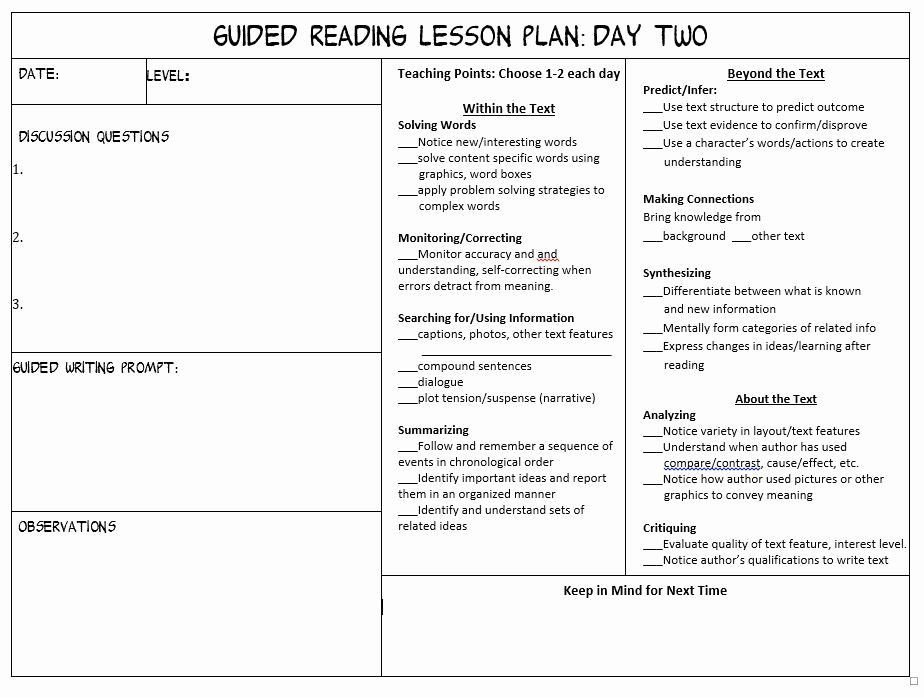 Balanced Literacy Lesson Plan Template Literacy Lesson Plan Template Lovely 3rd Grade Guided