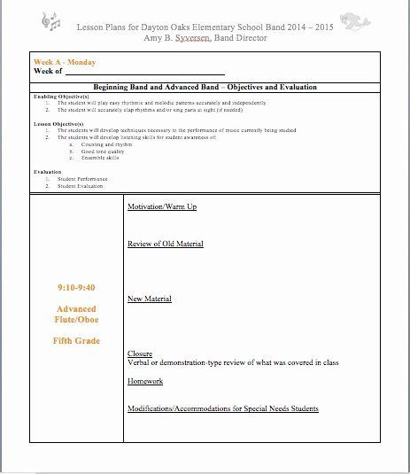 Band Lesson Plan Template E Day Lesson Plan Template Unique Rotating Band Schedule