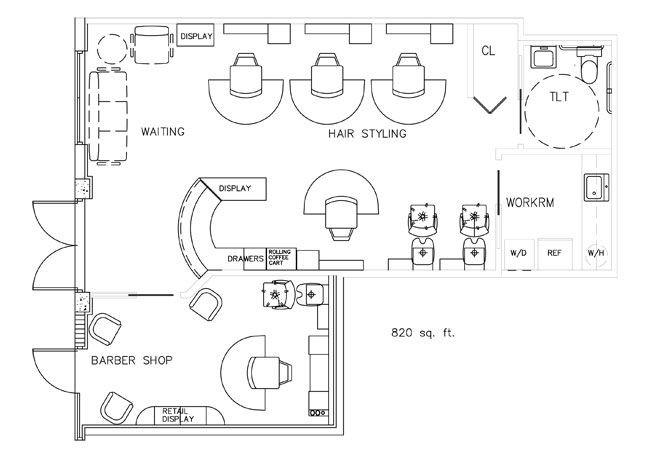 Barber Shop Business Plan Template Barber Shop Floor Plan Design Layout 820 Square Foot