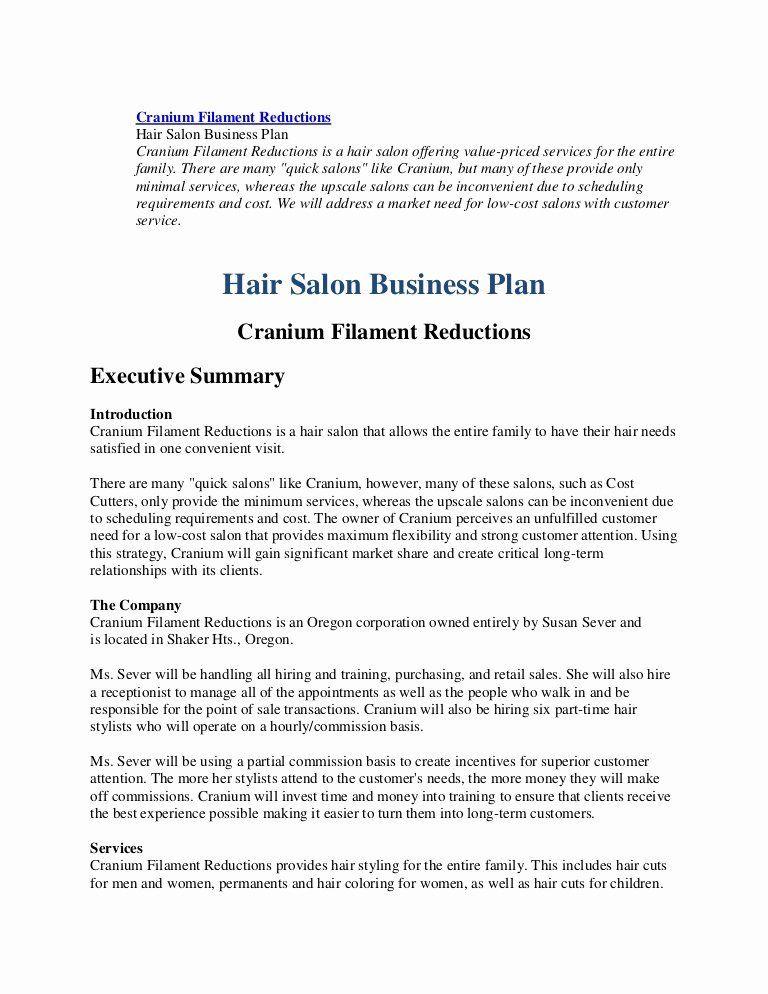 Barber Shop Business Plan Template Hair Salon Business Plan Pdf Beautiful Business Plan Hairl