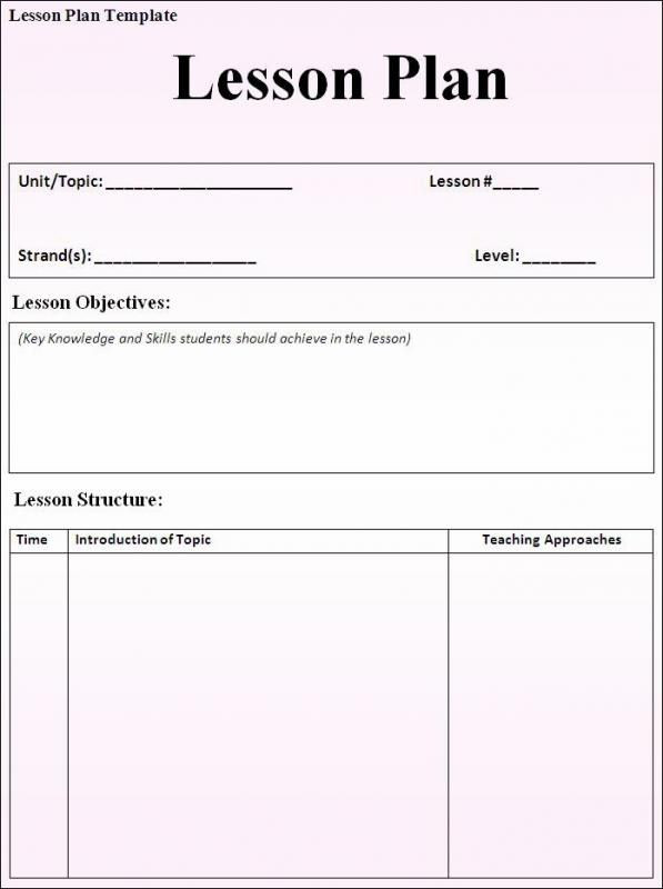 Basic Lesson Plan Template Doc Lesson Plan Template Word