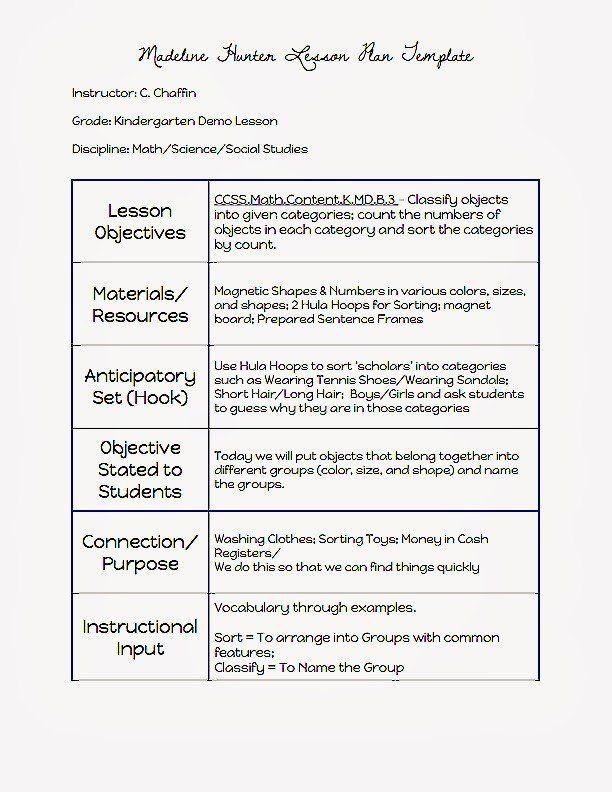 Basic Lesson Plan Template Doc Pin On Basic Lesson Plan Templates