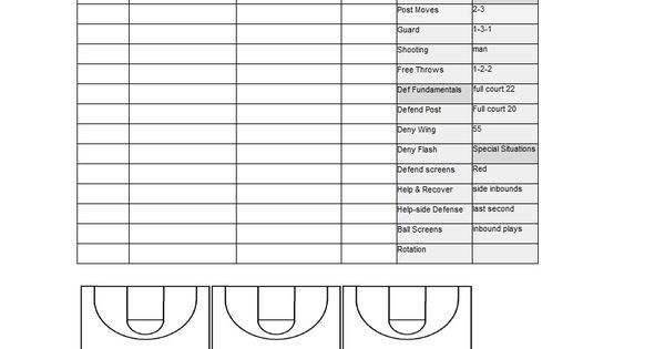 Basketball Practice Plan Template Excel Pin On event Planners