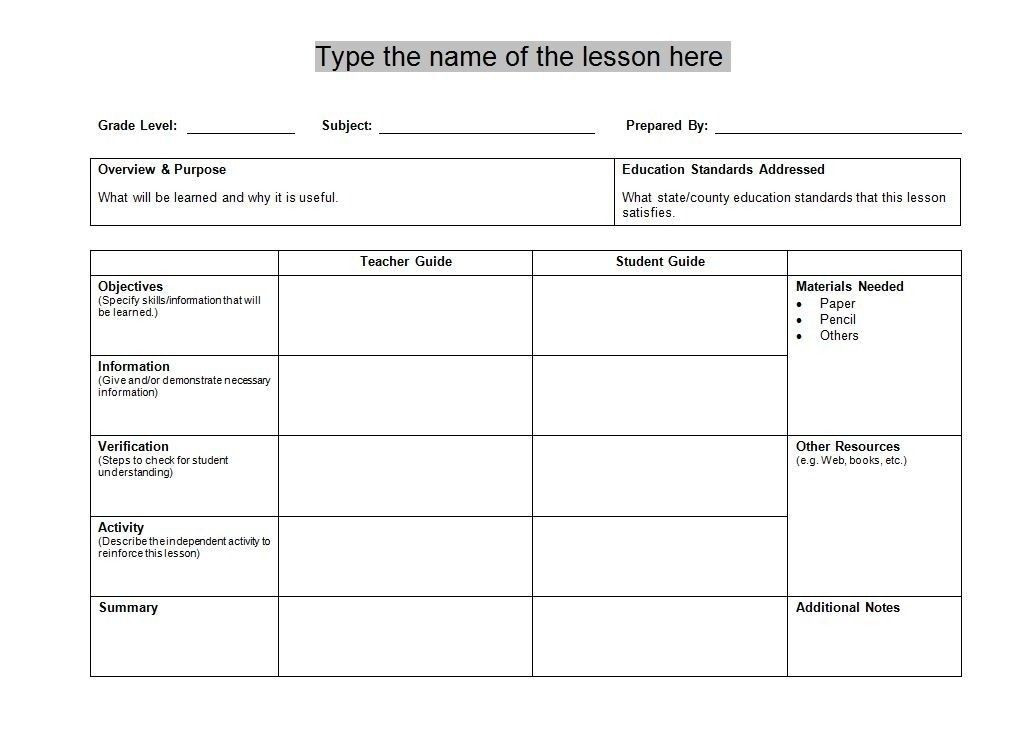 Best Lesson Plan Template Stem Lesson Plan Template the Best Ideas within