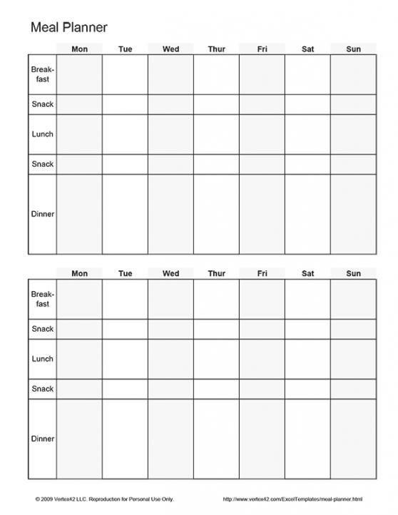 Bi Weekly Meal Planner Template Free Printable Biweekly Meal Planner Pdf From Vertex42