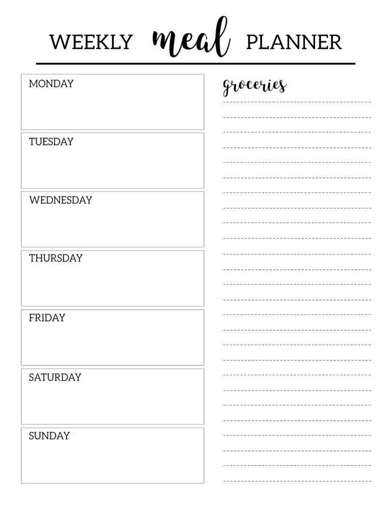 Bi Weekly Meal Planner Template Free Printable Meal Planner Template