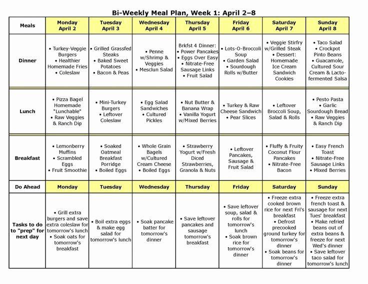 Bi Weekly Meal Planner Template Meal Prep Calendar Bi Weekly Meal Planner Template 28