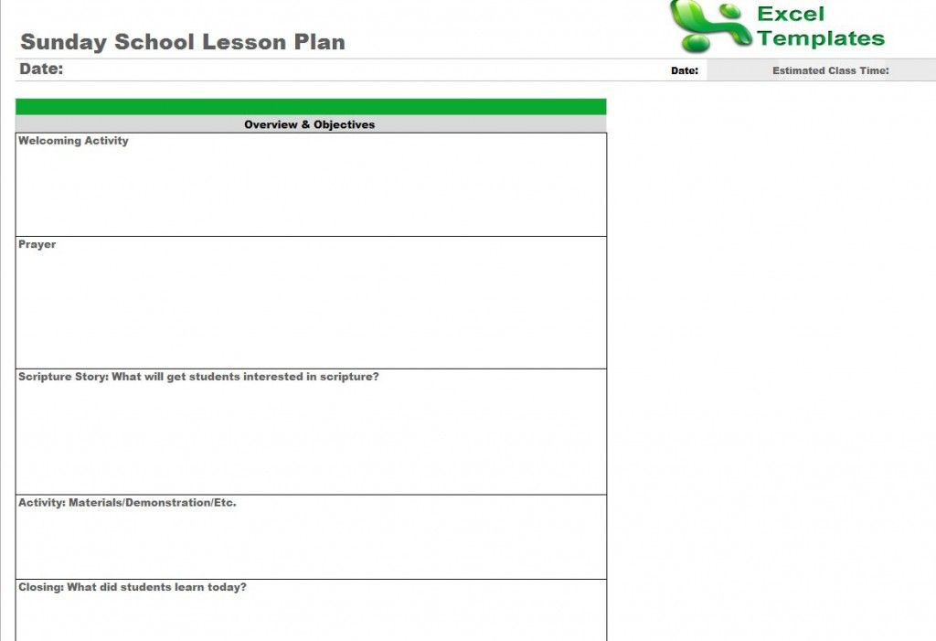 Bible Study Lesson Plan Template Sunday School Lesson Plan Template