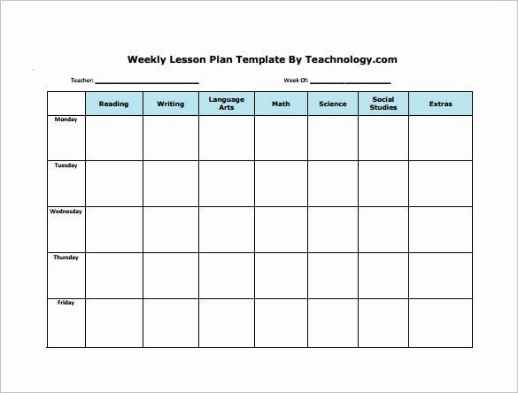 Blank Daily Lesson Plan Template Elementary Lesson Plan Template Word Inspirational Weekly