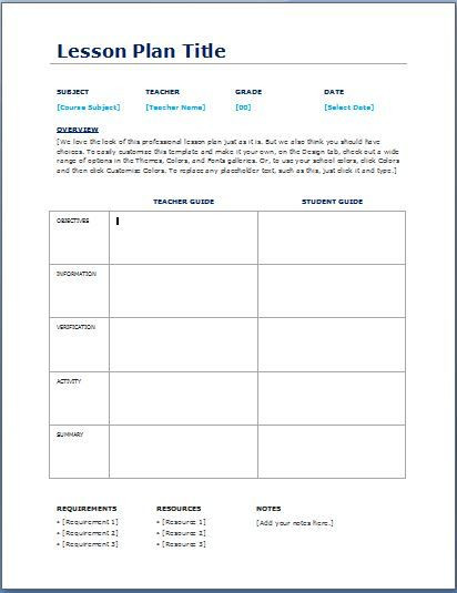 Blank Daily Lesson Plan Template Teacher Daily Lesson Planner Template