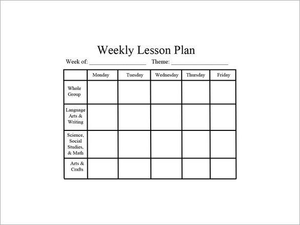 Blank Preschool Lesson Plan Template Weekly Lesson Plan Template Word In 2020