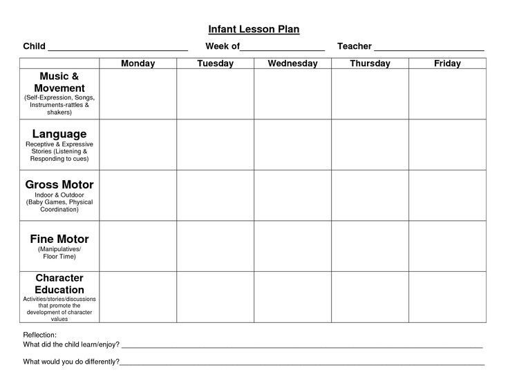 Blank toddler Lesson Plan Template Infant Blank Lesson Plan Sheets