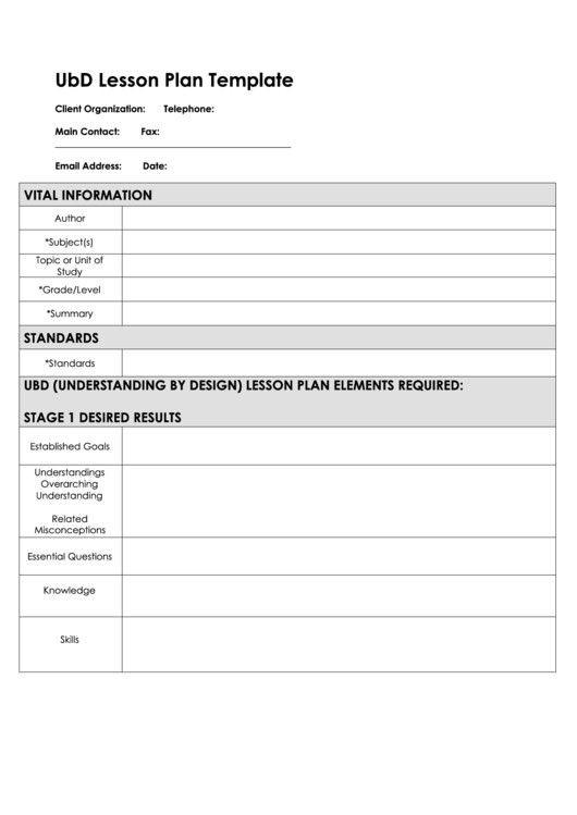 Blank Ubd Lesson Plan Template Ubd Lesson Plan Template Popular Fillable Ubd Lesson Plan