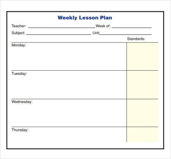 Blank Weekly Lesson Plan Template Image Result for Tuesday Thursday Weekly Lesson Plan