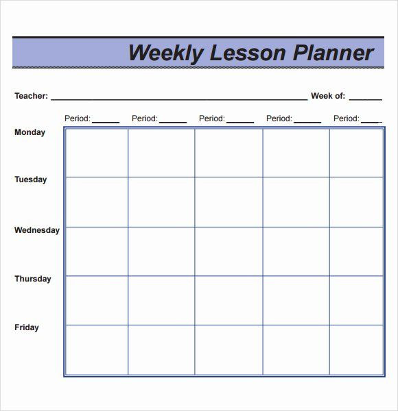 Blank Weekly Lesson Plan Template Weekly Lesson Plan Template Pdf Lovely Free 8 Sample Lesson
