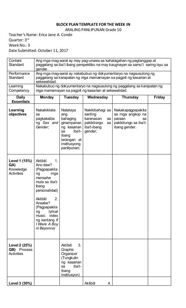 Block Lesson Plan Template Block Plan Template for the Week In Araling Panlipunan Grade