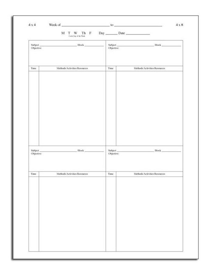 Block Lesson Plan Template Lesson Plan Book Ideas