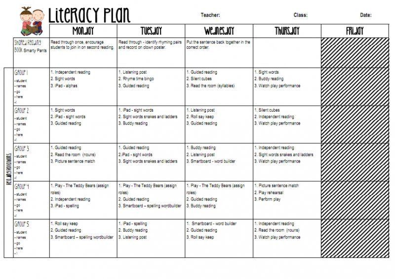 Block Scheduling Lesson Plan Template Literacy Block Guided Reading Planner