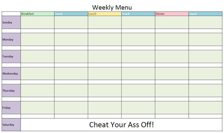 Bodybuilding Meal Planner Template Healthy Eating Menu Maker