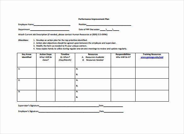 Business Action Plan Template Word Performance Improvement Plan Template Word Elegant Employee