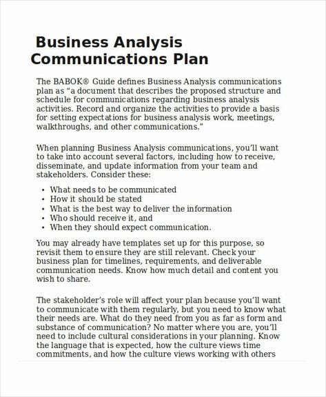 Business Analysis Plan Template √ 30 Business Analysis Plan Template In 2020