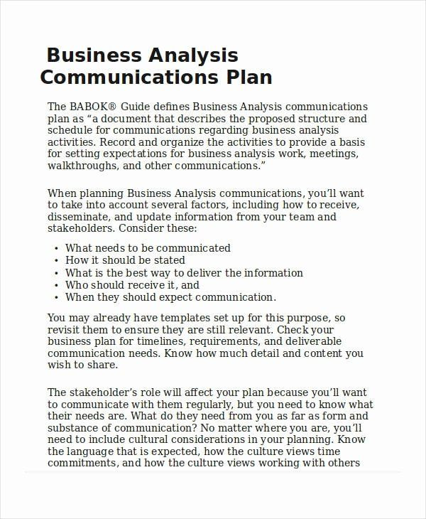 Business Analysis Plan Template Business Analysis Plan Template Inspirational Business