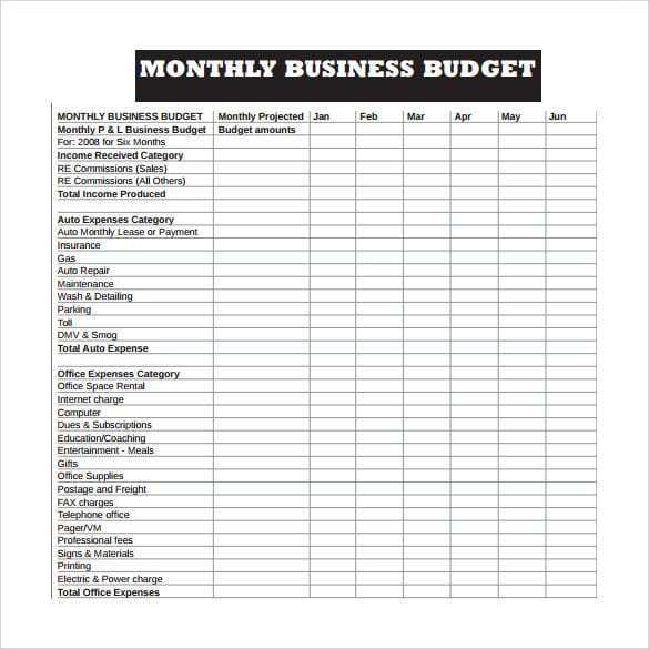 Business Plan Budget Template Business Bud Template 4