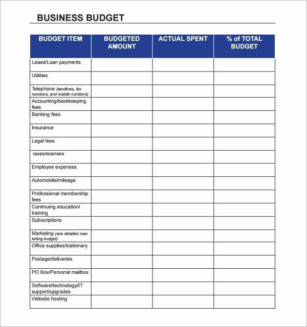 Business Plan Budget Template Small Business Bud Template Lovely Free 16 Sample