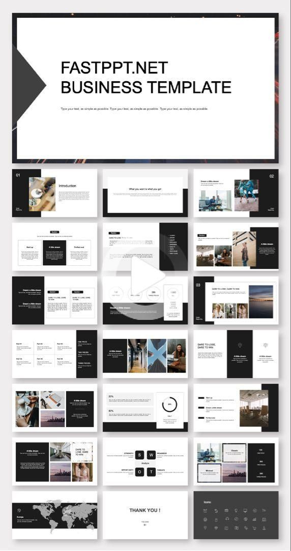 Business Plan Powerpoint Template Black & White Creative Business Plan Powerpoint Template In