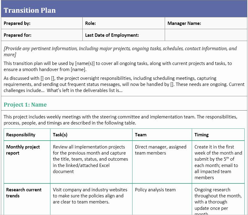 Business Transition Plan Template Employee Transition Plan Template Best Transition Plan