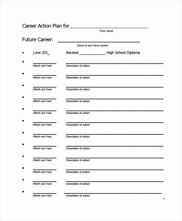 Career Action Plan Template Career Action Plan Template Luxury Career Action Plan
