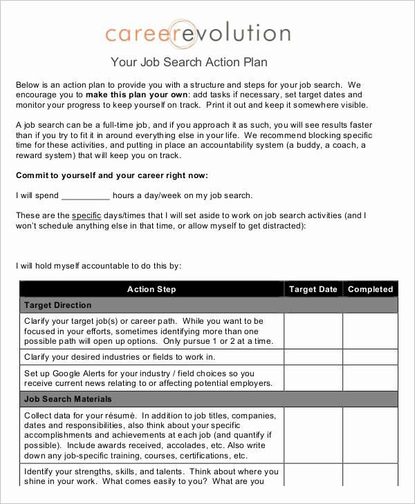 Career Action Plan Template Career Action Plan Template New Job Plan Templates 10 Free
