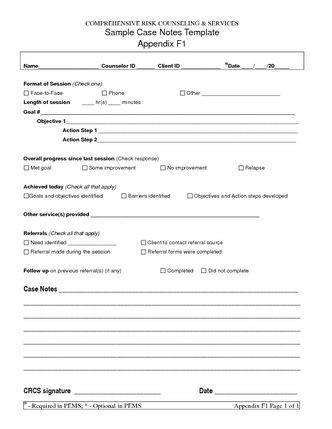 Case Management Plan Template Sample Case Notes Template Appendix F1 Pdf