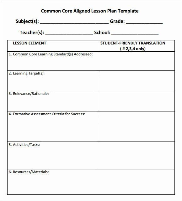 Ccss Lesson Plan Template Ccss Lesson Plan Templates Inspirational 7 Sample Mon Core