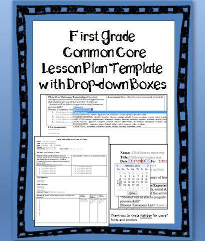 Ccss Math Lesson Plan Template 1st Grade Mon Core Lesson Plan Template with Drop Down