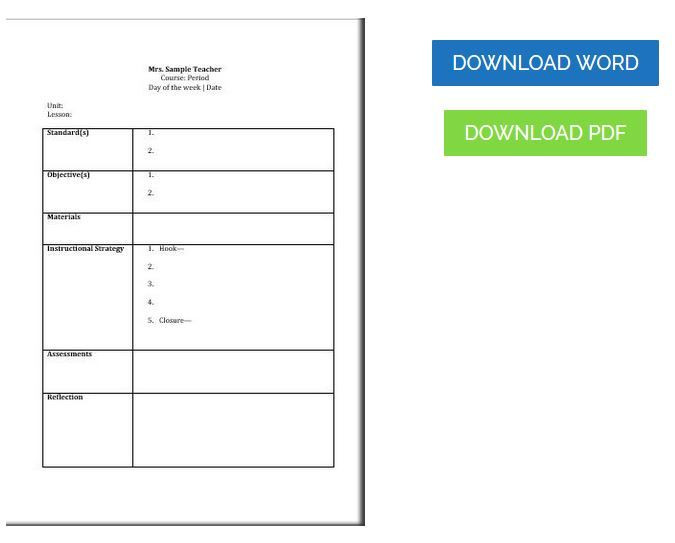 Ccss Math Lesson Plan Template Free Printable Mon Core Lesson Plan Template
