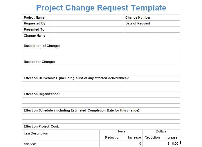 Change Management Plan Template Excel Project Change Request Template Exceltemple