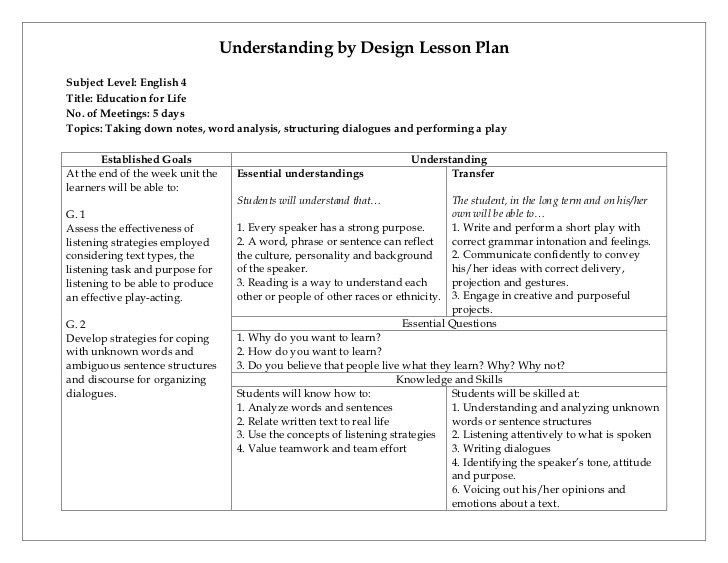 Charlotte Danielson Lesson Plan Template Understandingdesign Lesson Plan Template