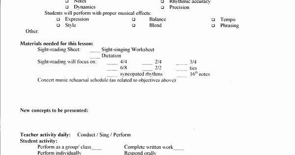 Choir Lesson Plan Template Choir Lesson Plan Template Best Lesson Plan Template