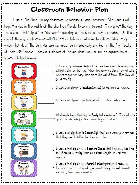 Classroom Management Plan Template Elementary Behavior Plan Template for Elementary Students Luxury
