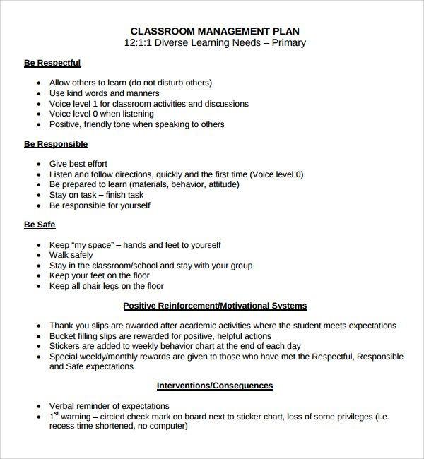 Classroom Management Plan Template Elementary Image Result for Sample Classroom Behavior Management Plan