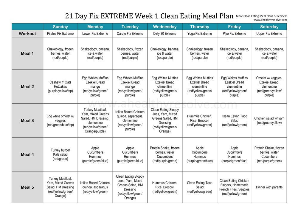 Clean Eating Meal Plan Template 21 Day Fix Extreme Week 1 Clean Eating Meal Plan