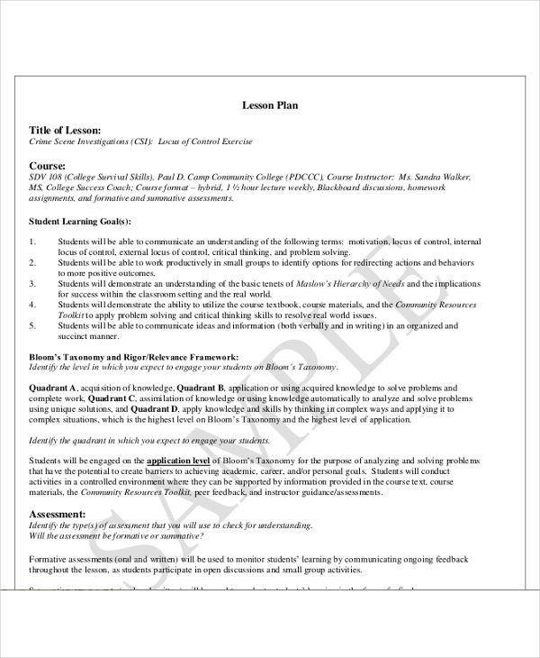 College Level Lesson Plan Template College Level Lesson Plan Template Awesome 47 Lesson Plan