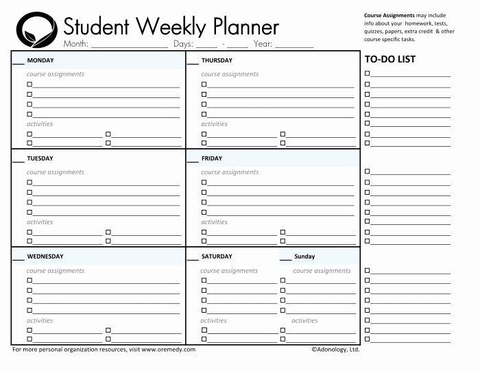 College Semester Course Planner Template 40 Weekly School Planner Template In 2020