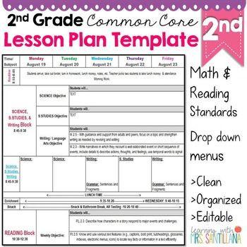Common Core Lesson Plan Template 2nd Grade Mon Core Lesson Plan Template