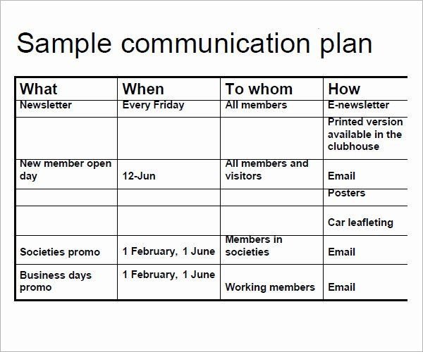 Communication Plan Template Free Strategic Munications Plan Template Luxury 16 Samples