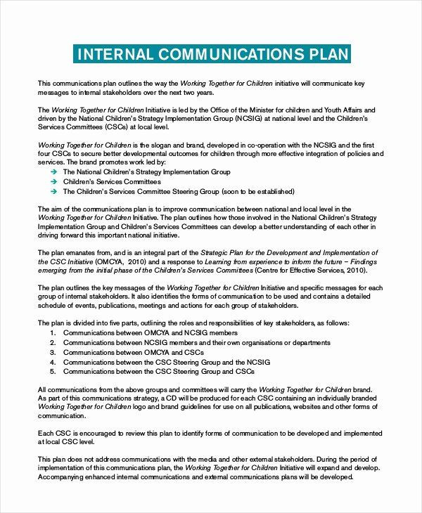 Communications Plan Template Word Internal Munication Plan Template Luxury Plan Template 18