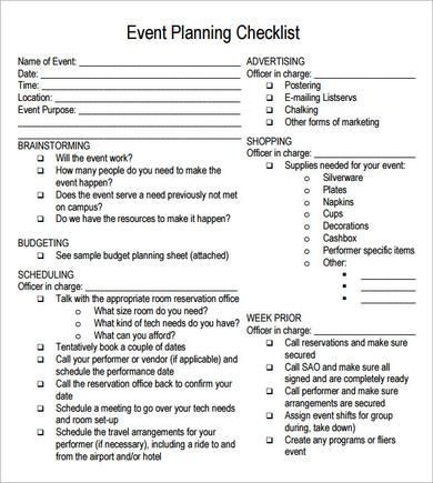 Conference event Planning Checklist Template Free Printable Party Planning Papers