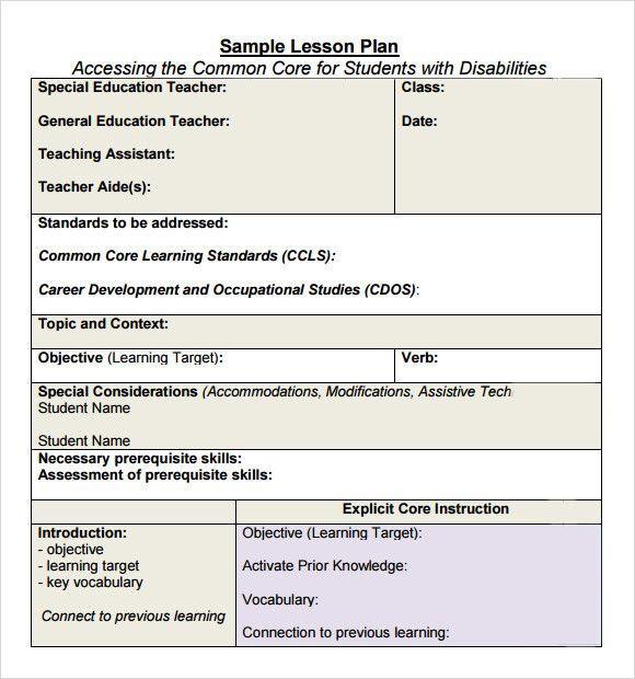 Core Knowledge Lesson Plan Template Lesson Plan Template Mon Core New Mon Core Lesson Plan
