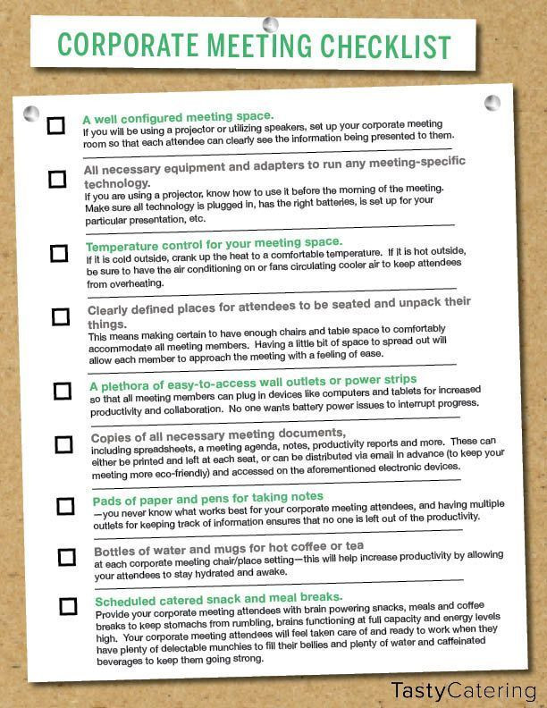 Corporate event Planning Template Checklist to Help Plan for A Corporate Meeting
